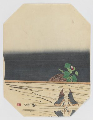 Kawabata Gyokusho (Japanese, 1842-1913). <em>Hanging Flower Basket</em>, ca. 1890. Woodblock color print, 8 3/4 x 11 3/8 in. (22.2 x 28.9 cm). Brooklyn Museum, Gift of the Estate of Dr. Eleanor Z. Wallace, 2007.32.18 (Photo: Brooklyn Museum, 2007.32.18_IMLS_PS3.jpg)
