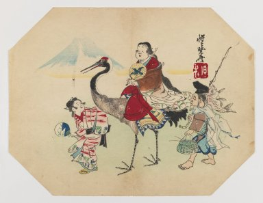 Kawanabe Kyosai (Japanese, 1831-1889). <em>Okame Riding on a Crane, Walking with Ebisu and a Girl</em>, ca. 1880. Color woodblock print on paper, 8 13/16 x 11 7/16 in. (22.4 x 29.1 cm). Brooklyn Museum, Gift of the Estate of Dr. Eleanor Z. Wallace, 2007.32.19 (Photo: Brooklyn Museum, 2007.32.19_IMLS_PS3.jpg)