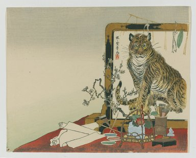 Kawanabe Kyosai (Japanese, 1831-1889). <em>Standing Screen (Tsuitate) of a Tiger</em>, 1878. Color woodblock print on paper, 9 x 11 5/16 in. (22.9 x 28.7 cm). Brooklyn Museum, Gift of the Estate of Dr. Eleanor Z. Wallace, 2007.32.20 (Photo: Brooklyn Museum, 2007.32.20_PS1.jpg)