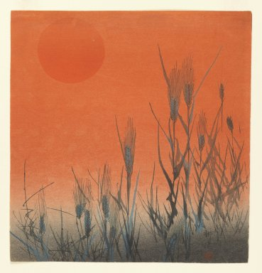 Kogyo Terazaki (Japanese, 1866-1919). <em>Barley at Sunrise</em>, ca. 1890-1895. Color woodblock print on paper, 9 1/16 x 8 5/8 in. (23 x 21.9 cm). Brooklyn Museum, Gift of the Estate of Dr. Eleanor Z. Wallace, 2007.32.24 (Photo: Brooklyn Museum, 2007.32.24_IMLS_PS3.jpg)