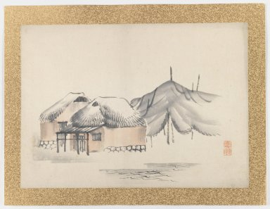 Nishiyama Hoen (Japanese, 1804-1867). <em>[Untitled] (Village Scene by Water)</em>, 1855. Ink and light color on paper, 10 3/4 x 14 15/16 in. (27.3 x 37.9 cm). Brooklyn Museum, Gift of the Estate of Dr. Eleanor Z. Wallace, 2007.32.48 (Photo: Brooklyn Museum, 2007.32.48_IMLS_PS3.jpg)