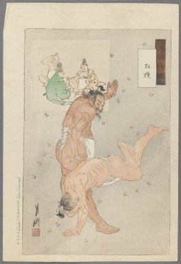 Ogata Gekko (Japanese, 1859-1920). <em>Sumō Wrestling, from the series Gekkō's Miscellany</em>, 1896. Color woodblock print on paper, 14 5/8 x 9 7/8 in. (37.1 x 25.1 cm). Brooklyn Museum, Gift of the Estate of Dr. Eleanor Z. Wallace, 2007.32.52 (Photo: Brooklyn Museum, 2007.32.52_IMLS_PS3.jpg)