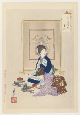 Ogata Gekko (Japanese, 1859-1920). <em>Tray Landscapes, from the series An Assortment of Women's Customs</em>, 1897. Color woodblock print on paper, 14 1/4 x 9 1/4 in. (36.2 x 23.5 cm). Brooklyn Museum, Gift of the Estate of Dr. Eleanor Z. Wallace, 2007.32.53 (Photo: Brooklyn Museum, 2007.32.53_IMLS_PS3.jpg)