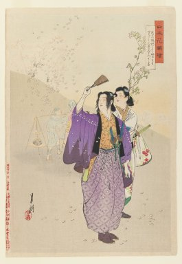 Ogata Gekko (Japanese, 1859-1920). <em>Warriors Viewing Cherry Blossoms, from the series Flowers of Japan, Illustrated</em>, 1893. Color woodblock print on paper, 13 7/16 x 9 1/4 in. (34.1 x 23.5 cm). Brooklyn Museum, Gift of the Estate of Dr. Eleanor Z. Wallace, 2007.32.55 (Photo: Brooklyn Museum, 2007.32.55_IMLS_PS3.jpg)