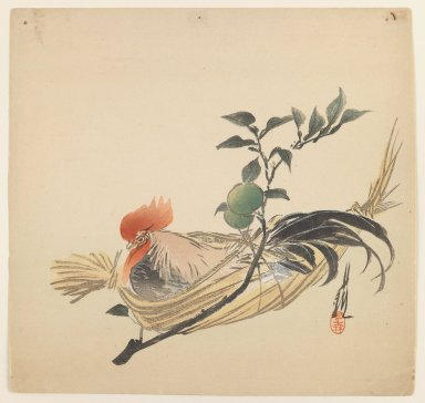 Ogata Gekko (Japanese, 1859-1920). <em>Rooster</em>, ca. 1890-1910. Color woodblock print on paper, 9 7/16 x 9 7/8 in. (24 x 25.1 cm). Brooklyn Museum, Gift of the Estate of Dr. Eleanor Z. Wallace, 2007.32.58 (Photo: Brooklyn Museum, 2007.32.58_IMLS_PS3.jpg)