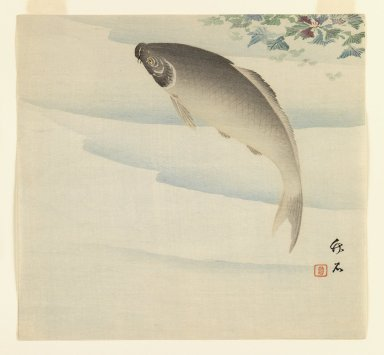 Chikuseki (Japanese, active ca. 1880-1910). <em>Swimming Carp</em>, ca. 1920. Color woodblock print on paper, 9 x 9 5/8 in. (22.9 x 24.4 cm). Brooklyn Museum, Gift of the Estate of Dr. Eleanor Z. Wallace, 2007.32.5 (Photo: Brooklyn Museum, 2007.32.5_IMLS_PS3.jpg)