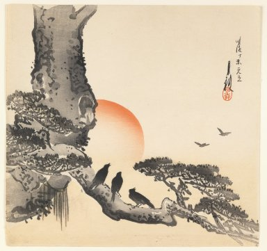 Ogata Gekko (Japanese, 1859-1920). <em>Crows at Sunset</em>, ca. 1890-1910. Color woodblock print on paper, 9 3/8 x 9 13/16 in. (23.8 x 24.9 cm). Brooklyn Museum, Gift of the Estate of Dr. Eleanor Z. Wallace, 2007.32.62 (Photo: Brooklyn Museum, 2007.32.62_IMLS_PS3.jpg)