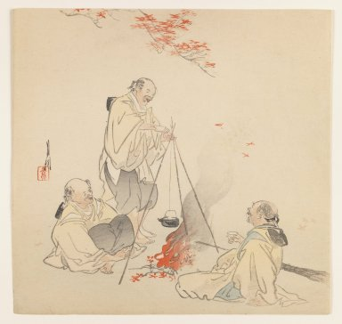 Ogata Gekko (Japanese, 1859-1920). <em>Fire under a Maple</em>, ca. 1890-1910. Color woodblock print on paper, 9 3/8 x 9 3/4 in. (23.8 x 24.8 cm). Brooklyn Museum, Gift of the Estate of Dr. Eleanor Z. Wallace, 2007.32.66 (Photo: Brooklyn Museum, 2007.32.66_IMLS_PS3.jpg)