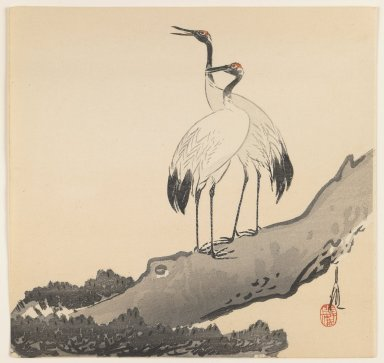Ogata Gekko (Japanese, 1859-1920). <em>Two Cranes</em>, ca. 1910s. Color woodblock print on paper, 9 1/2 x 9 5/16 in. (24.1 x 23.7 cm). Brooklyn Museum, Gift of the Estate of Dr. Eleanor Z. Wallace, 2007.32.68 (Photo: Brooklyn Museum, 2007.32.68_IMLS_PS3.jpg)