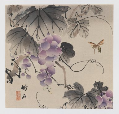 Chikuseki (Japanese, active ca. 1880-1910). <em>Grapevine and Wasp</em>, ca. 1900. Color woodblock print on paper, 9 1/4 x 9 1/16 in. (23.5 x 23 cm). Brooklyn Museum, Gift of the Estate of Dr. Eleanor Z. Wallace, 2007.32.6 (Photo: Brooklyn Museum, 2007.32.6_IMLS_PS3.jpg)