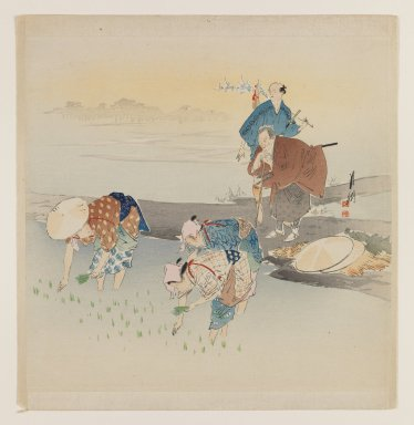 Ogata Gekko (Japanese, 1859-1920). <em>Rice Planting</em>, ca. 1890-1910. Color woodblock print on paper, 9 x 9 15/16 in. (22.9 x 25.2 cm). Brooklyn Museum, Gift of the Estate of Dr. Eleanor Z. Wallace, 2007.32.70 (Photo: Brooklyn Museum, 2007.32.70_IMLS_PS3.jpg)