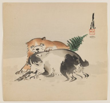Ogata Gekko (Japanese, 1859-1920). <em>Puppies</em>, ca. 1890-1910. Color woodblock print on paper, 9 3/8 x 9 7/8 in. (23.8 x 25.1 cm). Brooklyn Museum, Gift of the Estate of Dr. Eleanor Z. Wallace, 2007.32.72 (Photo: Brooklyn Museum, 2007.32.72_IMLS_PS3.jpg)