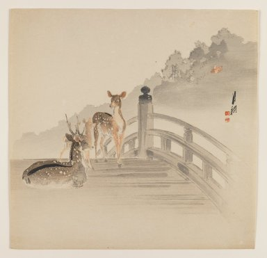 Ogata Gekko (Japanese, 1859-1920). <em>Deer on Bridge</em>, ca. 1890-1910. Color woodblock print on paper, 9 5/16 x 9 1/8 in. (23.7 x 23.2 cm). Brooklyn Museum, Gift of the Estate of Dr. Eleanor Z. Wallace, 2007.32.73 (Photo: Brooklyn Museum, 2007.32.73_IMLS_PS3.jpg)