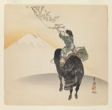 Ogata Gekko (Japanese, 1859-1920). <em>Boy on Ox</em>, ca. 1890-1910. Color woodblock print on paper, 9 1/2 x 9 7/8 in. (24.1 x 25.1 cm). Brooklyn Museum, Gift of the Estate of Dr. Eleanor Z. Wallace, 2007.32.74 (Photo: Brooklyn Museum, 2007.32.74_IMLS_PS3.jpg)