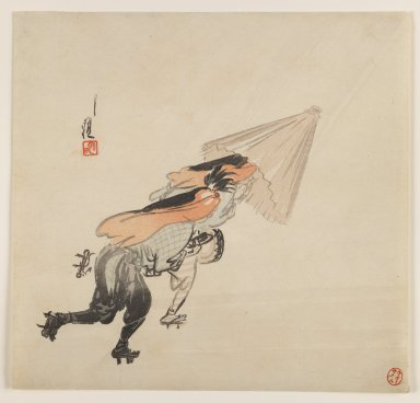 Ogata Gekko (Japanese, 1859-1920). <em>Peasants in a Wind Storm</em>, ca. 1890-1910. Color woodblock print on paper, 9 7/16 x 9 7/8 in. (24 x 25.1 cm). Brooklyn Museum, Gift of the Estate of Dr. Eleanor Z. Wallace, 2007.32.76 (Photo: Brooklyn Museum, 2007.32.76_IMLS_PS3.jpg)