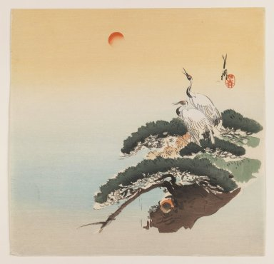 Ogata Gekko (Japanese, 1859-1920). <em>Cranes on a Pine Tree</em>, ca. 1890-1910. Color woodblock print on paper, 9 5/16 x 9 1/2 in. (23.7 x 24.1 cm). Brooklyn Museum, Gift of the Estate of Dr. Eleanor Z. Wallace, 2007.32.77 (Photo: Brooklyn Museum, 2007.32.77_IMLS_PS3.jpg)