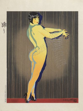 Ishikawa Toraji (Japanese, 1875-1964). <em>Dance, from the series Ten Types of Female Nudes</em>, 1935. Color woodblock print with mica on paper, Other: 19 x 14 5/8 in. (48.3 x 37.1 cm). Brooklyn Museum, Gift of the Estate of Dr. Eleanor Z. Wallace, 2007.32.7. © artist or artist's estate (Photo: Brooklyn Museum, 2007.32.7_PS9.jpg)