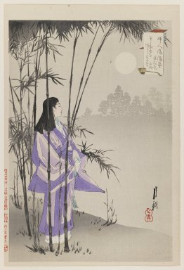 Ogata Gekko (Japanese, 1859-1920). <em>Nun in Moonlight, from the series An Assortment of Women's Customs</em>, 1891. Color woodblock print on paper, 13 7/8 x 9 7/16 in. (35.2 x 24 cm). Brooklyn Museum, Gift of the Estate of Dr. Eleanor Z. Wallace, 2007.32.81 (Photo: Brooklyn Museum, 2007.32.81_IMLS_PS3.jpg)