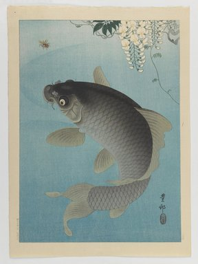Ohara Koson (Shoson) (Japanese, 1877-1945). <em>Carp and Wisteria</em>, 1927. Color woodblock print on paper, 14 3/4 x 10 5/8 in. (37.5 x 27 cm). Brooklyn Museum, Gift of the Estate of Dr. Eleanor Z. Wallace, 2007.32.83 (Photo: Brooklyn Museum, 2007.32.83_IMLS_PS3.jpg)