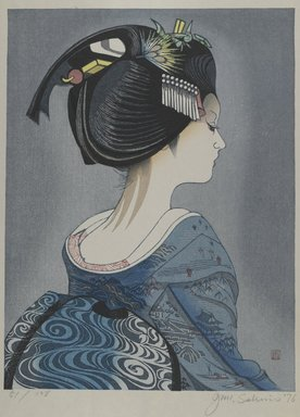 Sekino Junichiro (Japanese, 1914-1988). <em>[Untitled] (Geisha from Back)</em>, 1976. Woodblock print, Other (Sight): 19 15/16 x 15 5/8 in. (50.6 x 39.7 cm). Brooklyn Museum, Gift of the Estate of Dr. Eleanor Z. Wallace, 2007.32.92. © artist or artist's estate (Photo: Brooklyn Museum, 2007.32.92_PS4.jpg)