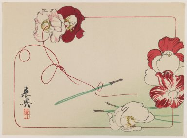Shibata Zeshin (Japanese, 1807-1891). <em>Stringing Poppies, from the series Comparison of Flowers</em>, ca. 1875-1890. Color woodblock print on paper, 8 1/2 x 9 15/16 in. (21.6 x 25.2 cm). Brooklyn Museum, Gift of the Estate of Dr. Eleanor Z. Wallace, 2007.32.94 (Photo: Brooklyn Museum, 2007.32.94_IMLS_PS3.jpg)
