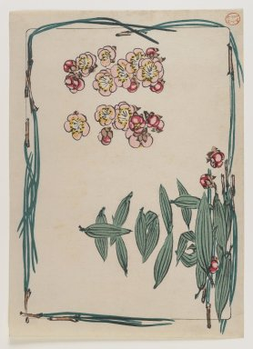 Shibata Zeshin (Japanese, 1807-1891). <em>Bamboo Leaves, Pine Needles, and Plum Blossoms, from the series Comparison of Flowers</em>, ca. 1875-1890. Color woodblock print on paper, Sight: 6 1/2 x 9 7/16 in. (16.5 x 24 cm) (in purple mat). Brooklyn Museum, Gift of the Estate of Dr. Eleanor Z. Wallace, 2007.32.96 (Photo: Brooklyn Museum, 2007.32.96_IMLS_PS4.jpg)
