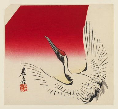 Shibata Zeshin (Japanese, 1807-1891). <em>Flying Crane</em>, ca. 1890. Color woodblock print on paper, 9 7/16 x 10 1/8 in. (24 x 25.7 cm). Brooklyn Museum, Gift of the Estate of Dr. Eleanor Z. Wallace, 2007.32.98 (Photo: Brooklyn Museum, 2007.32.98_IMLS_PS3.jpg)