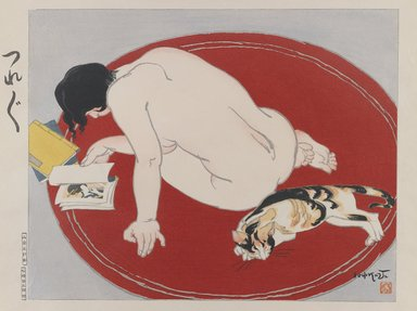 Ishikawa Toraji (Japanese, 1875-1964). <em>Bored, from the series Ten Types of Female Nudes</em>, 1935. Color woodblock print with mica on paper, 15 x 19 1/16 in. (38.1 x 48.4 cm). Brooklyn Museum, Gift of the Estate of Dr. Eleanor Z. Wallace, 2007.32.9. © artist or artist's estate (Photo: Brooklyn Museum, 2007.32.9_IMLS_PS3.jpg)