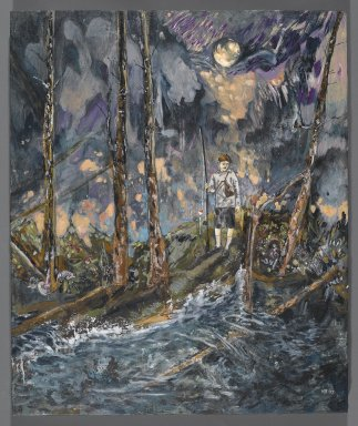 Hernan Bas (American, born 1978). <em>Night Fishing</em>, 2007. Mixed media on linen over panel, 24 x 20 in. (61 x 50.8 cm). Brooklyn Museum, Purchase gift of Shelley Fox Aarons and Philip E. Aarons, and Howard Wolfson, 2007.33. © artist or artist's estate (Photo: Brooklyn Museum, 2007.33_PS2.jpg)