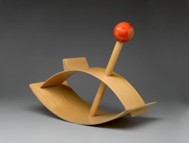 "Gloria Caranica (American, born 1931). <em>""Rocking Beauty"" Hobby Horse</em>, designed 1964-1966. Plywood, solid wood, pigment, 20 1/4 x 25 1/4 x 11 3/4 in. (51.4 x 64.1 x 29.8 cm). Brooklyn Museum, Bequest of Laura L. Barnes and gift of Mrs. James F. Bechtold, by exchange, 2007.38. Creative Commons-BY (Photo: Brooklyn Museum, 2007.38_threequarter_PS1.jpg)"