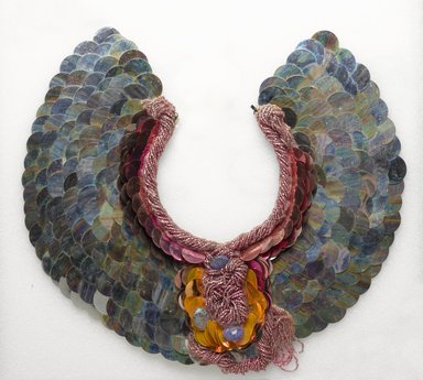 Rhonda Zwillinger (American, born 1950). <em>Necklace</em>, 1987. Plastic, textile, metal, 14 1/4 x 15 1/4 x 3/4 in. (36.2 x 38.7 x 1.9 cm). Brooklyn Museum, Gift of Edward and Phyllis Kwalwasser, 2007.39.1. Creative Commons-BY (Photo: Brooklyn Museum, 2007.39.1_PS9.jpg)