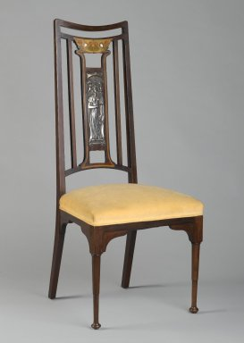 <em>Side Chair</em>, ca. 1900. Mahogany, various light stained woods, silver plated copper, mother of pearl, modern upholstery, 44 1/2 x 19 x 16 in. (113 x 48.3 x 40.6 cm). Brooklyn Museum, Bequest of Dr. Eleanor Z. Wallace, 2007.40.2. Creative Commons-BY (Photo: Brooklyn Museum, 2007.40.2_PS2.jpg)