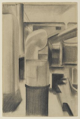 George Copeland Ault (American, 1891-1948). <em>Shipboard</em>, 1924. Graphite on medium, cream, slightly textured, wove paper, Sheet: 9 x 6 in. (22.9 x 15.2 cm). Brooklyn Museum, Gift of Manhattan Art Investments, LP, 2007.46 (Photo: Brooklyn Museum, 2007.46_PS2.jpg)
