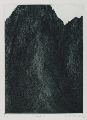 Gabor Peterdi (American, born Hungary, 1915-2001). <em>Pali II</em>, 1972. Drypoint on paper, sheet: 21 x 14 15/16 in. (53.3 x 37.9 cm). Brooklyn Museum, Gift of Mrs. Gabor Peterdi, 2007.47.6. © artist or artist's estate (Photo: Brooklyn Museum, 2007.47.6_PS4.jpg)