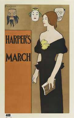 Edward Penfield (American, 1866-1925). <em>Poster for Harper's Magazine</em>, March 1896. Lithograph on off-white, moderately thick, smooth-textured wove paper, 18 5/16 x 11 in. (46.5 x 27.9 cm). Brooklyn Museum, Gift of the Estate of Dr. Eleanor Z. Wallace, 2007.50.5 (Photo: Brooklyn Museum, 2007.50.5_PS1.jpg)