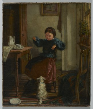 John Barnard Whittaker (American, 1836-1926). <em>Girl and Dog</em>, ca. 1860s. Oil on canvas, Image: 11 1/2 x 9 1/2 in. (29.2 x 24.1 cm). Brooklyn Museum, Gift of Dr. Clark S. Marlor, 2007.52.2 (Photo: Brooklyn Museum, 2007.52.2_PS2.jpg)