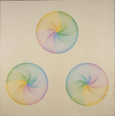 Judy Chicago (American, born 1939). <em>Large Dome Drawing #4</em>, 1968-1969. Prismacolor on paper, frame: 54 x 54 in. (137.2 x 137.2 cm). Brooklyn Museum, Gift of Ken Marvel and Bob Gardner, 2007.5. © artist or artist's estate (Photo: Brooklyn Museum, 2007.5_slide_SL3.jpg)