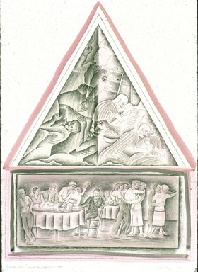 Judy Chicago (American, born 1939). <em>Micrographic Study for Pink and Black Lesbian Triangle</em>, 1989. Ink, acrylic wash, oil on paper, 30 x 22 in. (76.2 x 55.9 cm). Brooklyn Museum, Gift of Mary Ross Taylor, 2007.6.3. © artist or artist's estate (Photo: Brooklyn Museum, 2007.6.3_slide_SL3.jpg)