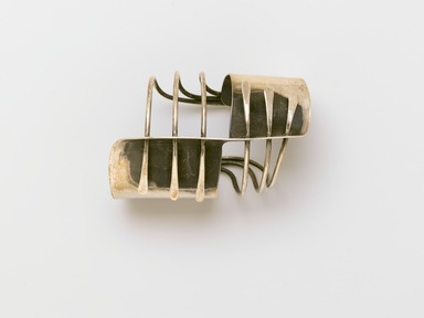 "Art Smith (American, born Cuba, 1917-1982). <em>""Modern Cuff"" Bracelet</em>, designed ca. 1948. Silver, 1 5/8 x 2 1/2 x 4 in. (4.1 x 6.4 x 10.2 cm). Brooklyn Museum, Gift of Charles L. Russell, 2007.61.15. Creative Commons-BY (Photo: Brooklyn Museum, 2007.61.15_PS2.jpg)"