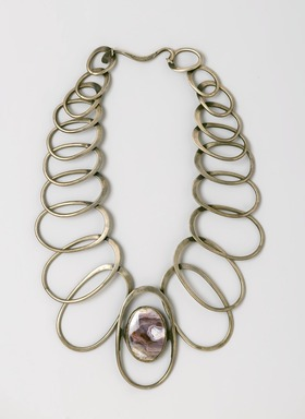 Art Smith (American, born Cuba, 1917-1982). <em>Linked Oval Necklace</em>, designed by 1974. Silver, amethyst quartz, 11 x 10 1/2 x 1/2 in. (27.9 x 26.7 x 1.3 cm). Brooklyn Museum, Gift of Charles L. Russell, 2007.61.1. Creative Commons-BY (Photo: Brooklyn Museum, 2007.61.1_PS2.jpg)