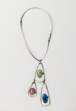 Art Smith (American, born Cuba, 1917-1982). <em>Triangle Necklace</em>, ca. 1969. Silver, turquoise, lapis lazuli, rhodochrosite, 16 1/8 x 5 1/8 x 1/2 in. (41 x 13 x 1.3 cm). Brooklyn Museum, Gift of Charles L. Russell, 2007.61.3. Creative Commons-BY (Photo: Brooklyn Museum, 2007.61.3_PS2.jpg)
