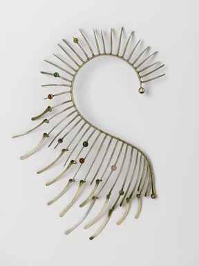 Art Smith (American, born Cuba, 1917-1982). <em>Metallic Boa Necklace</em>, ca. 1964. Silver, eight hardstones, 14 1/2 x 8 x 1 5/8 in. (36.8 x 20.3 x 4.1 cm). Brooklyn Museum, Gift of Charles L. Russell, 2007.61.5. Creative Commons-BY (Photo: Brooklyn Museum, 2007.61.5_PS2.jpg)
