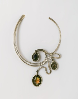 Art Smith (American, born Cuba, 1917-1982). <em>New Orleans Necklace</em>, ca. 1962. Silver, three semi-precious stones: Labradorite (?), 8 5/8 x 5 7/8 x 3/4 in. (21.9 x 14.9 x 1.9 cm). Brooklyn Museum, Gift of Charles L. Russell, 2007.61.6. Creative Commons-BY (Photo: Brooklyn Museum, 2007.61.6_PS2.jpg)