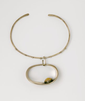 Art Smith (American, born Cuba, 1917-1982). <em>Stone-in-Cuff Necklace</em>, ca. 1969. Silver, semi-precious stone (prase), 7 1/2 x 6 3/8 x 1 1/2 in. (19.1 x 16.2 x 3.8 cm). Brooklyn Museum, Gift of Charles L. Russell, 2007.61.9. Creative Commons-BY (Photo: Brooklyn Museum, 2007.61.9_PS2.jpg)