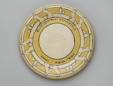 "RB. <em>Plate, ""Elizabeth Medeira/Her Very Own,""</em> 1910. Glazed earthenware, Diameter: 7 5/8 in. (19.4 cm). Brooklyn Museum, Gift of Joseph F. McCrindle in memory of J. Fuller Feder, by exchange, 2007.7.1. Creative Commons-BY (Photo: Brooklyn Museum, 2007.7.1_PS2.jpg)"