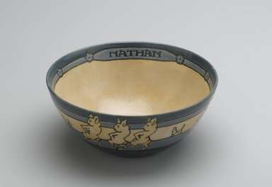 "AM. <em>Bowl, ""Nathan,""</em> 1914. Glazed earthenware, Diameter: 5 1/2 in. (14 cm). Brooklyn Museum, Gift of Joseph F. McCrindle in memory of J. Fuller Feder, by exchange, 2007.7.2. Creative Commons-BY (Photo: Brooklyn Museum, 2007.7.2_PS2.jpg)"
