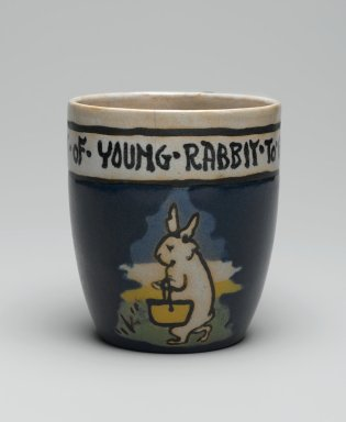 "AM. <em>Mug, ""It is the Habit of Young Rabbit to go to School,""</em> 1917. Glazed earthenware, Height: 3 5/8 in. (9.2 cm). Brooklyn Museum, Gift of Joseph F. McCrindle in memory of J. Fuller Feder, by exchange, 2007.7.3. Creative Commons-BY (Photo: Brooklyn Museum, 2007.7.3_view1_PS2.jpg)"