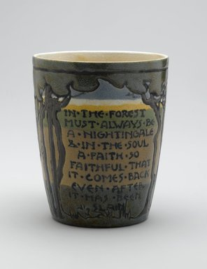 "SG. <em>Mug, ""In the Forest...,""</em> 1912. Glazed earthenware, Height: 3 7/8 in. (9.8 cm). Brooklyn Museum, Gift of Joseph F. McCrindle in memory of J. Fuller Feder, by exchange, 2007.7.4. Creative Commons-BY (Photo: Brooklyn Museum, 2007.7.4_PS2.jpg)"