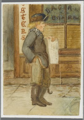 Karl L. H. Mueller (American, born Germany, 1820-1887). <em>Newspaper Boy</em>, 1864. Watercolor over black media underdrawing, 5 x 3 1/2 in. (12.7 x 8.9 cm). Brooklyn Museum, Gift of the American Art Council, 2008.18.10. Creative Commons-BY (Photo: Brooklyn Museum, 2008.18.10_PS1.jpg)