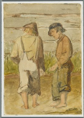 Karl L. H. Mueller (American, born Germany, 1820-1887). <em>Two Street Urchins</em>, 1864. Watercolor over black media underdrawing, 5 x 3 1/2 in. (12.7 x 8.9 cm). Brooklyn Museum, Gift of the American Art Council, 2008.18.11. Creative Commons-BY (Photo: Brooklyn Museum, 2008.18.11_PS1.jpg)
